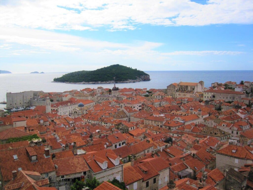 The red roofs of the old city from the city walls during one day in Dubrovnik