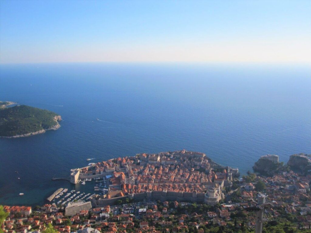 View of the old city from above during 24 hours in Dubrovnik