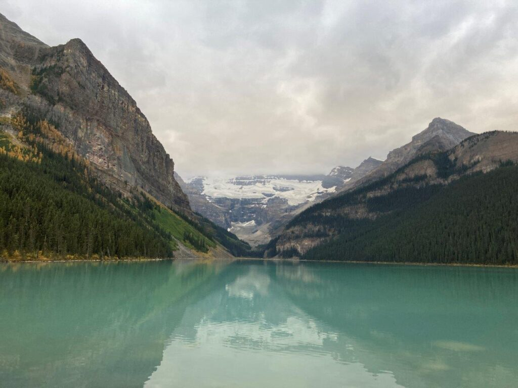 Lake Louise with reflections of mountains and glaciers