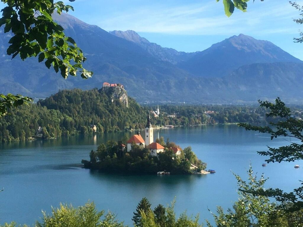 Lake Bled, Bled Island and Bled Castle from Mala Osojnica