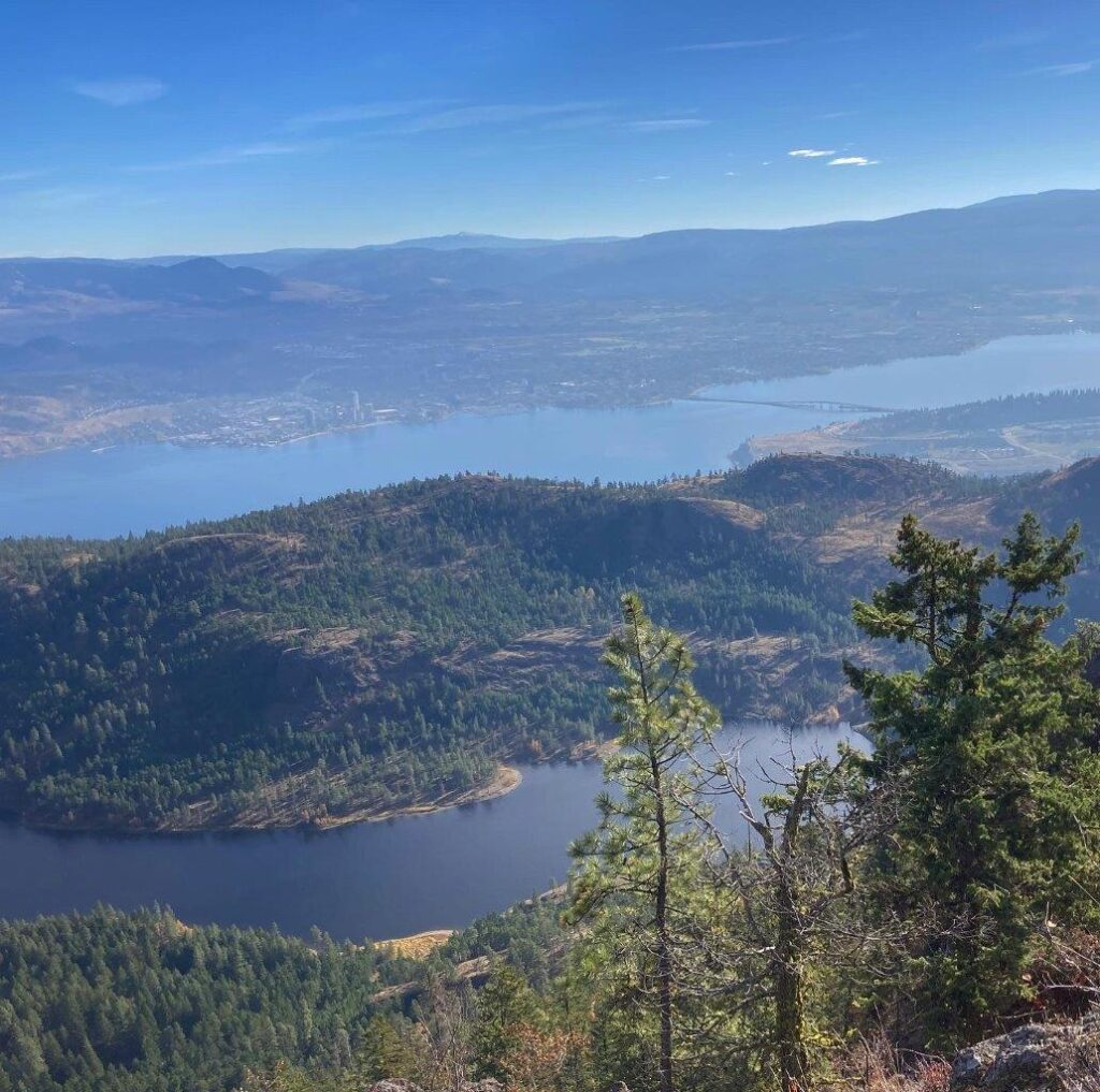 View of Lake Okanagan and Rose Valley Lake from McDougall Rim on one of the best hikes Kelowna has