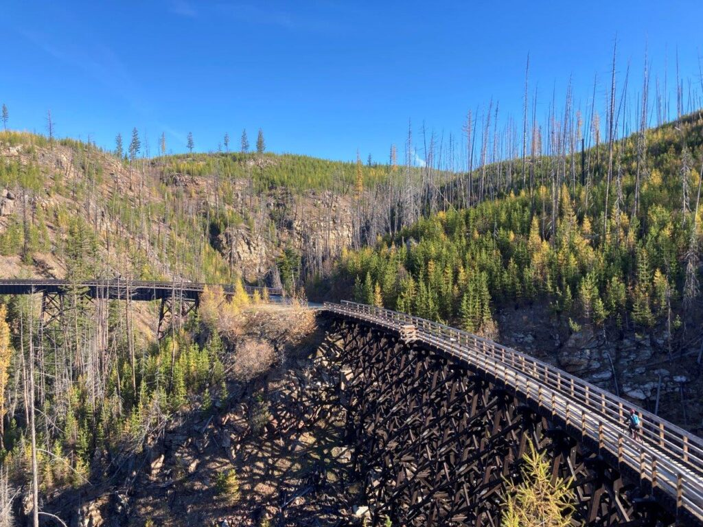 Woman biking on a Myra Canyon trestle