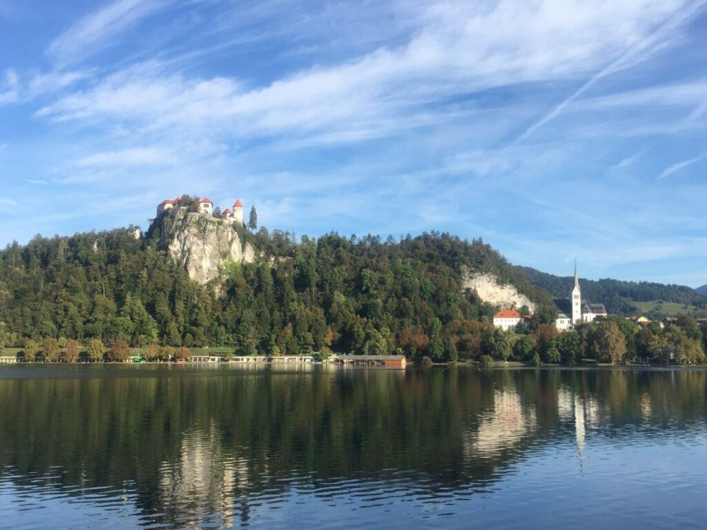 Bled Castle viewed from the path around Lake Bled
