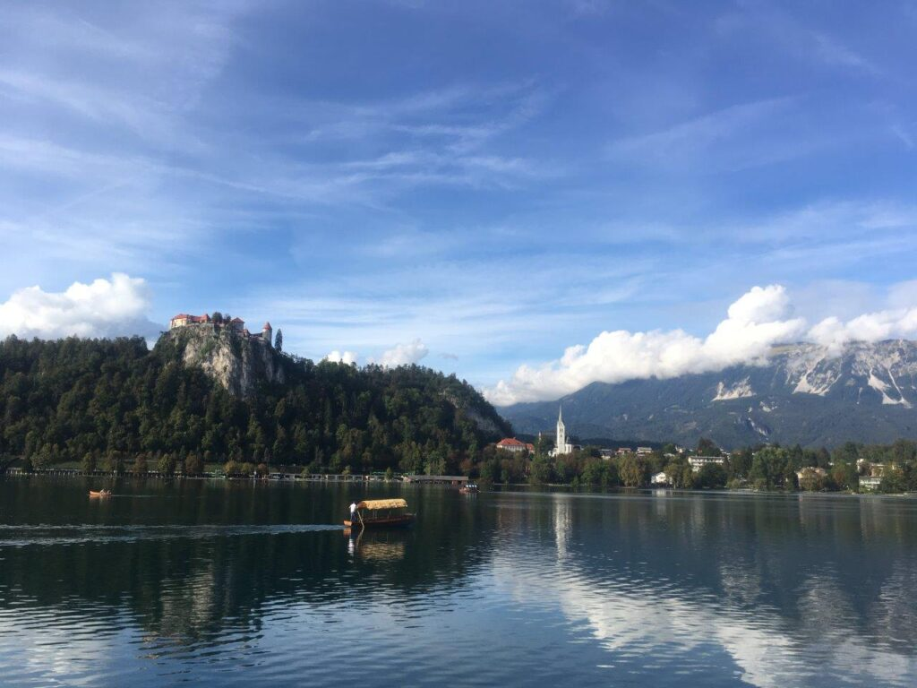 Reflection of Bled Castle in Lake Bled