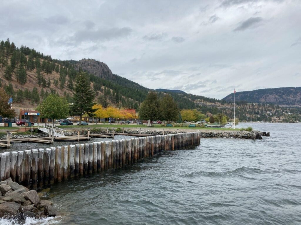Peachland boardwalk with lake and docks