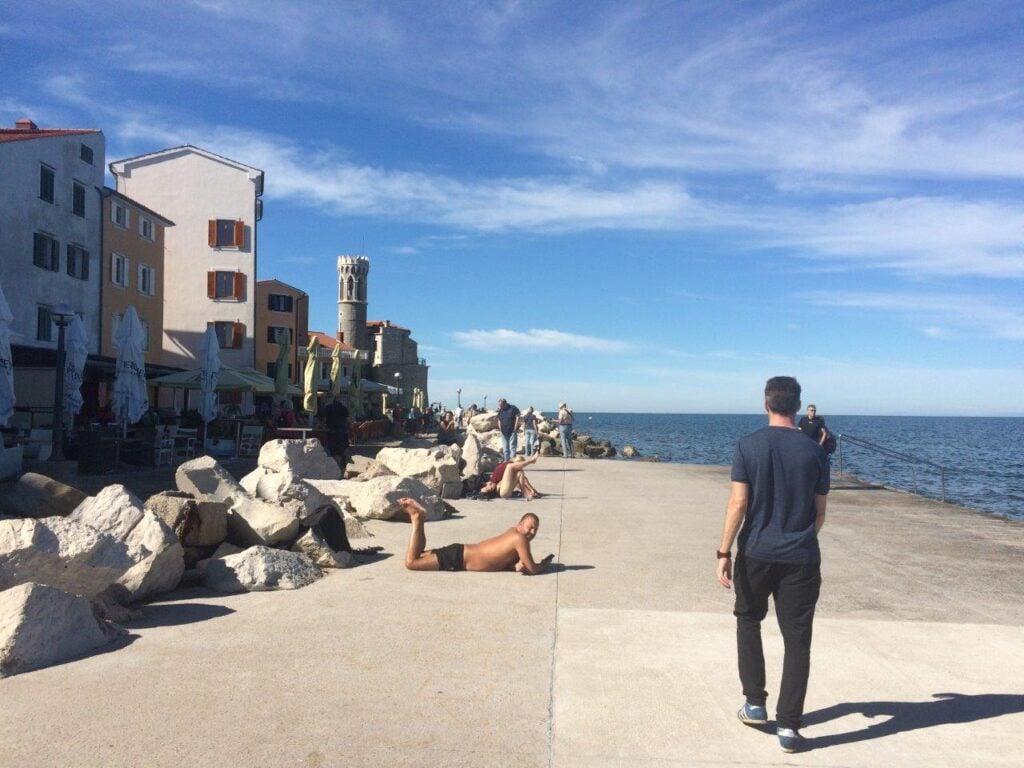 Sunbathing on the Piran Slovenia beach