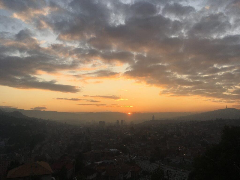 Watching the sunset over the city from the Yellow Fortress is one of the best things to do in Sarajevo