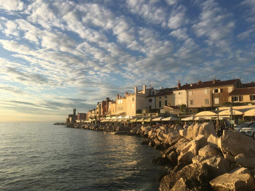 Piran promenade at sunset