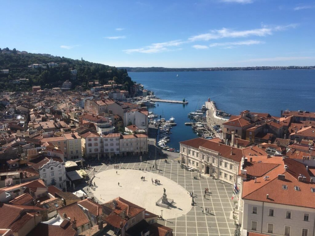 View of Tartini Square in Piran Slovenia from the Bell Tower