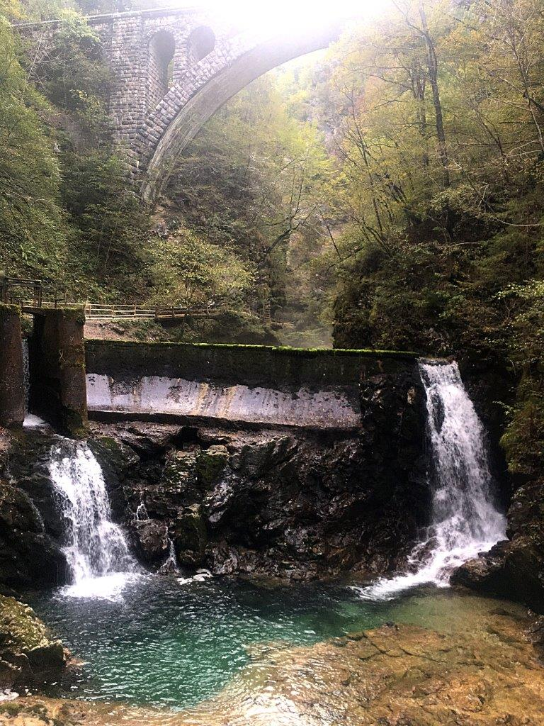 The Šum Waterfall at the end of the Bled Gorge walk