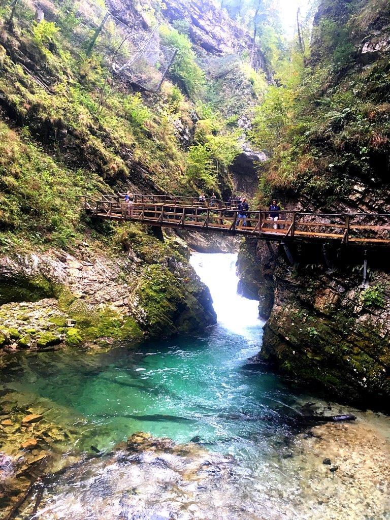 Boardwalk crossing Vintgar Gorge