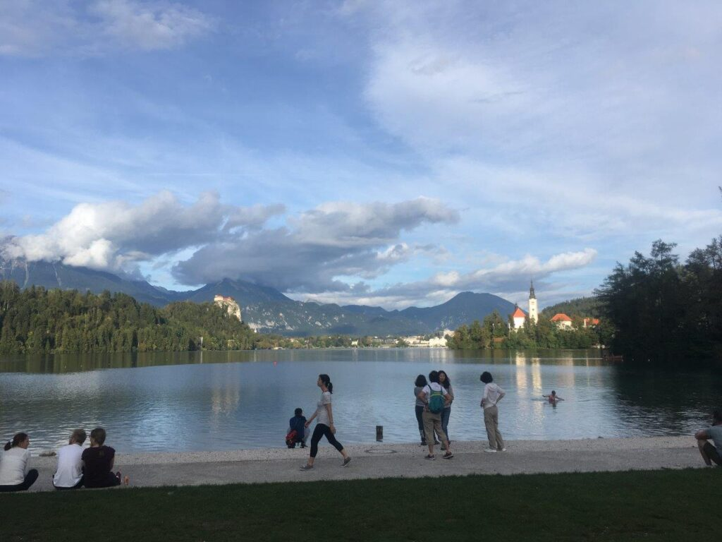 A small sandy beach on Lake Bled near Bled Campgroud