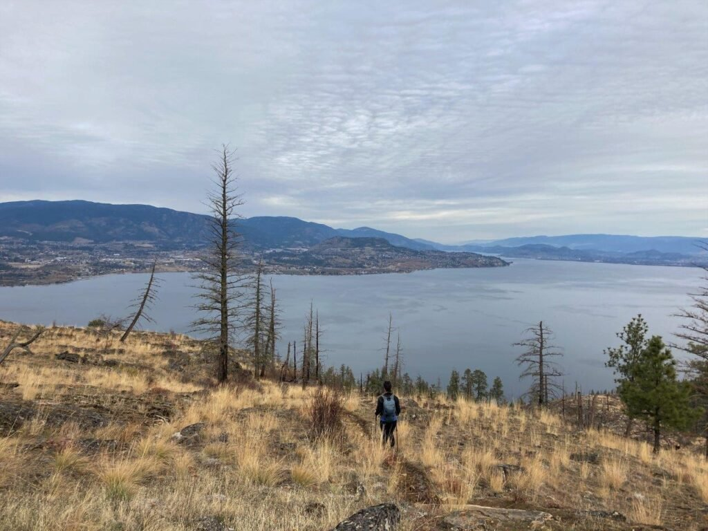 Hiking trail with lake in the backdround on one of the best hikes Kelowna has