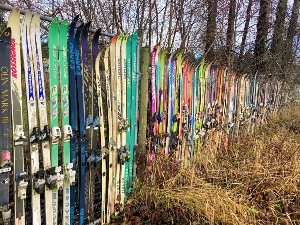 Fence made of skis in Cumberland bc
