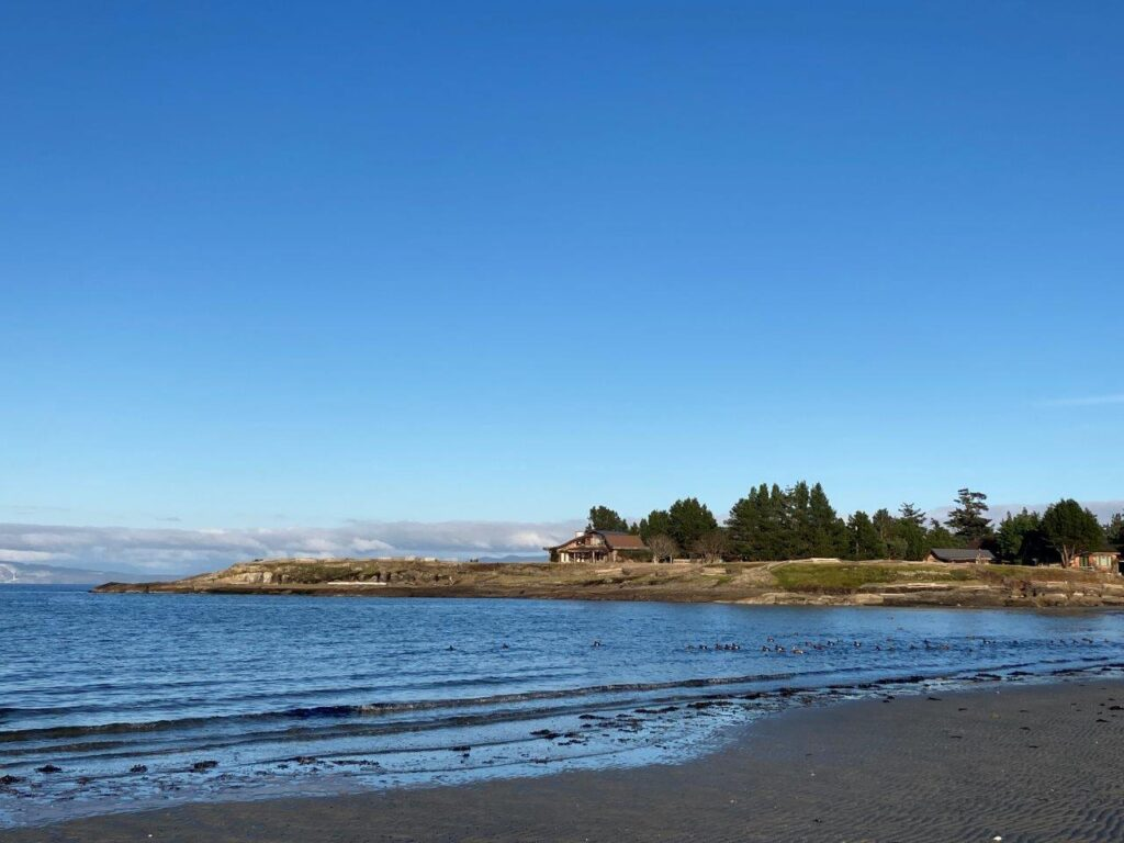 The Whaling Station Bay Beach when the tide is out on Hornby Island
