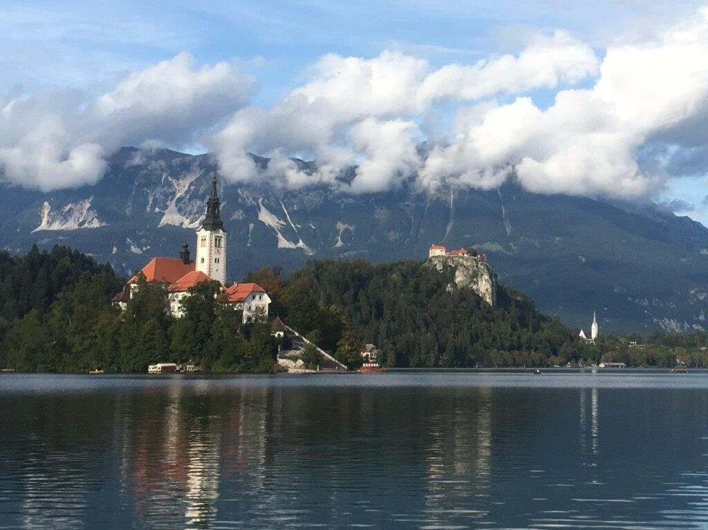 Bled Island and Bled Castle on Lake Bled, Slovenia