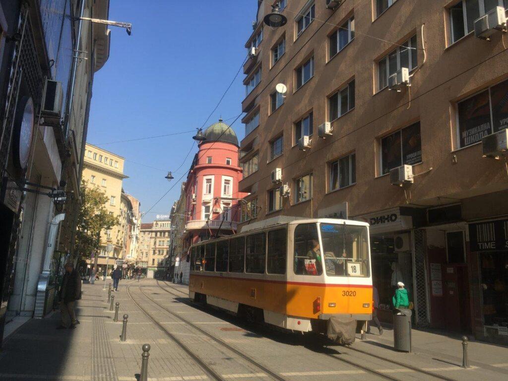 Yellow tram in Sofia, Bulgaria