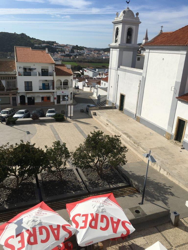 Umbrellas from a restaurant on the main square of Aljezur Portugal