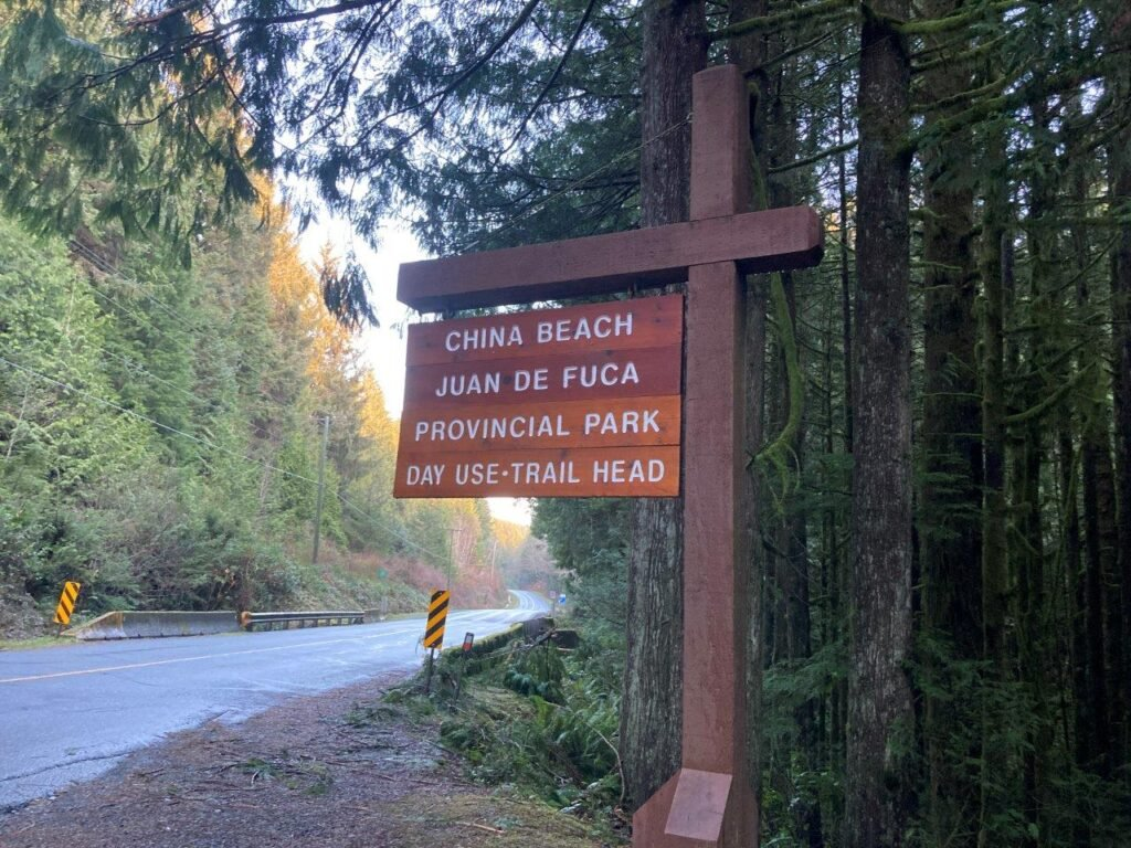 Sign for China Beach Day Use Trail Head on the highway bordered by tall trees