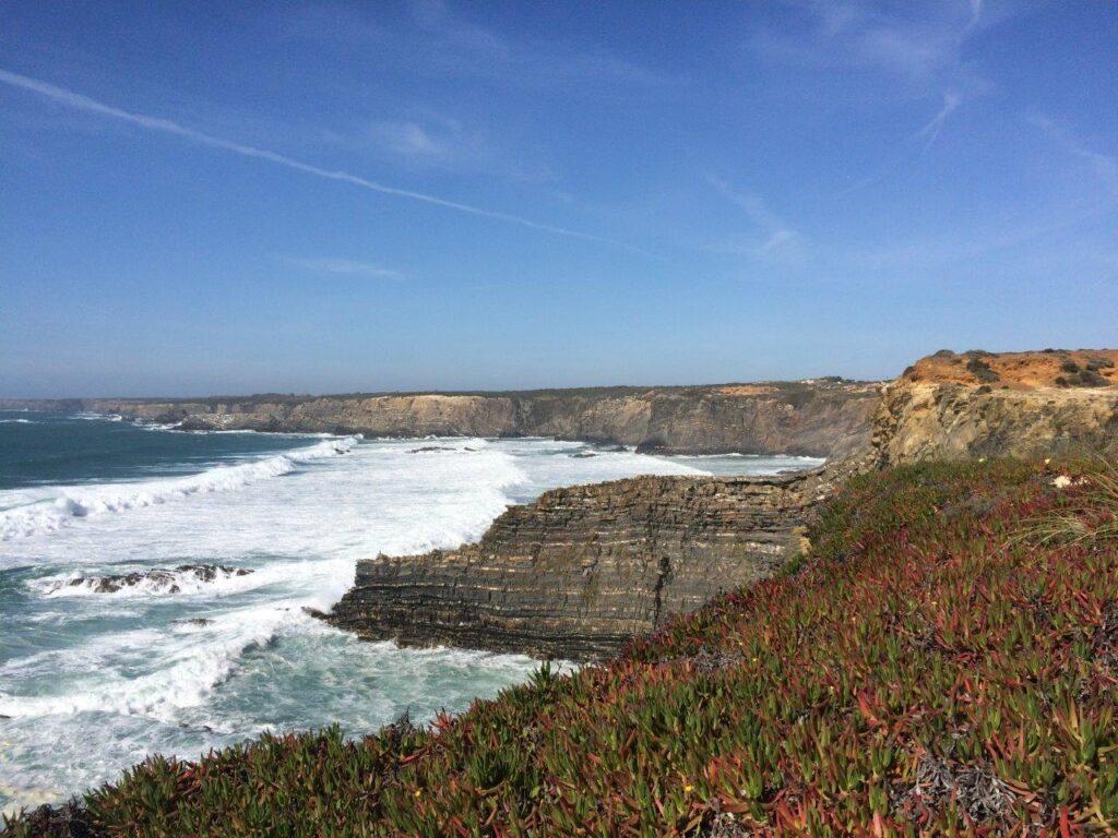 Cliffs and ocean on the Rota Vicentina trek near Zambujeira do Mar Portugal