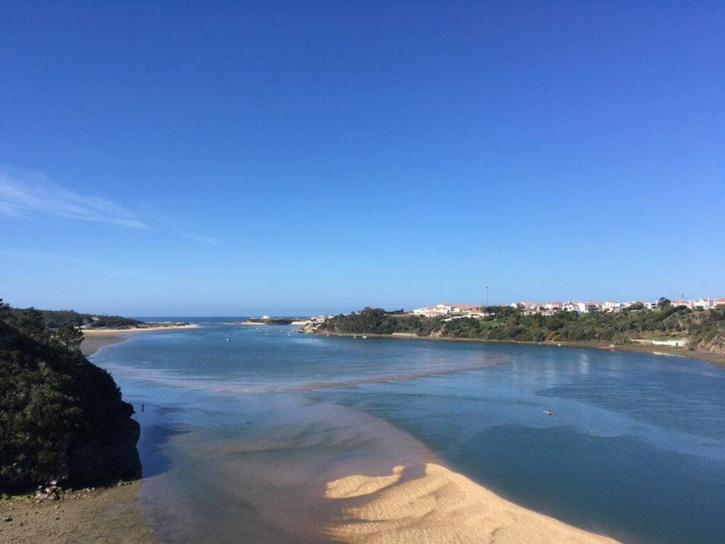 View across the Mira River of Vila Nova de Milfontes Portugal