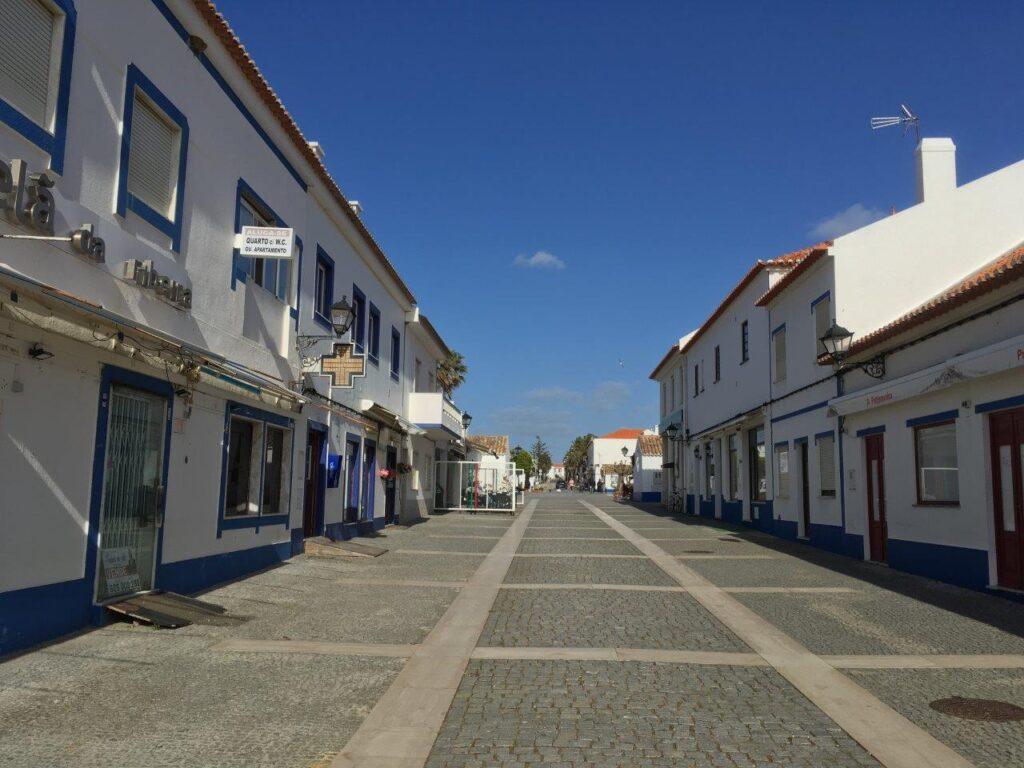 Main pedestrian street in Porto Covo Portugal