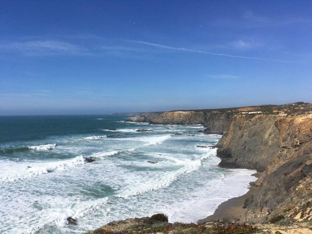 View of Praia da Nossa Senhora at high tide from the cliffs