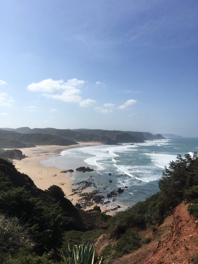 View down to Praia do Amado from the cliffs near Carrapateira Portugal
