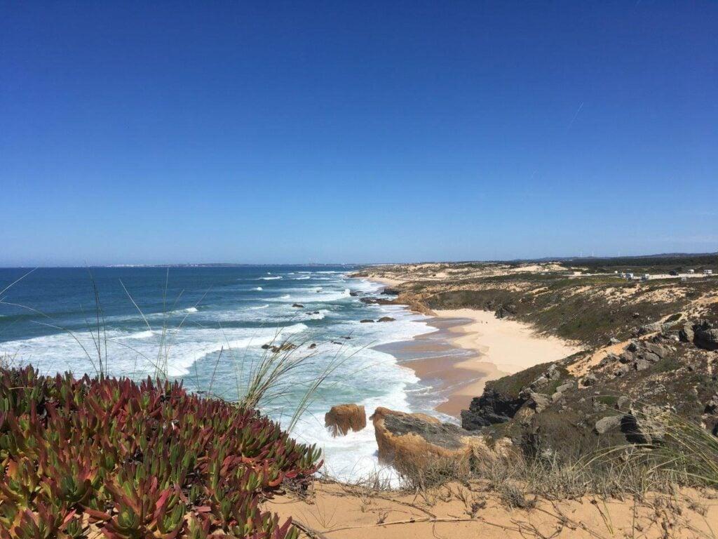 Praia do Malhao surfing beach near Vila Nova de Milfontes Portugal