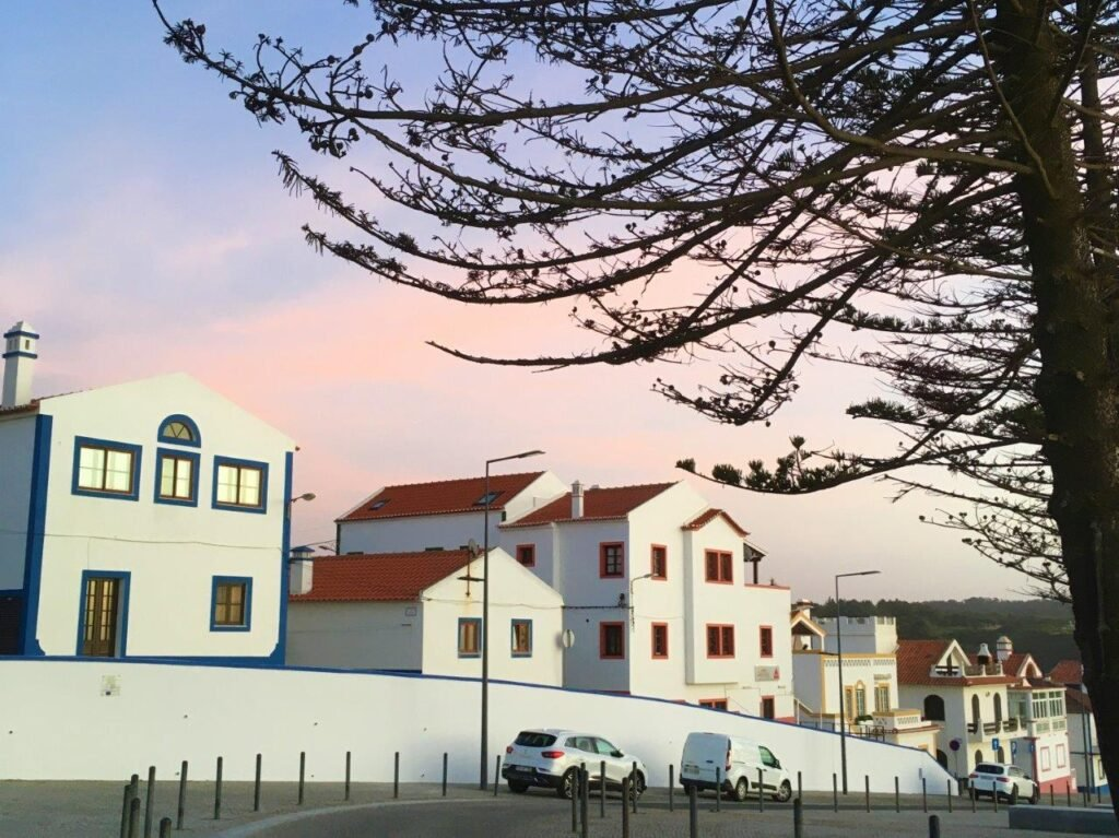 The white houses with colourful trim in Zambujeira do Mar Portugal