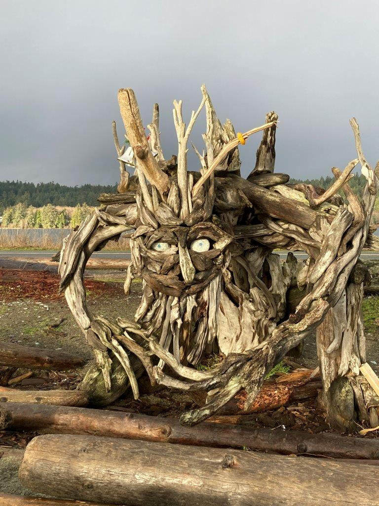 Large driftwood sculpture in the shape of a monster at the Esquimalt Lagoon