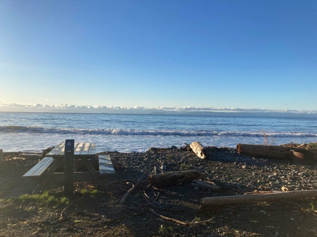 Picnic bench and driftwood at the Jordan River Campground with ocean and mountains in the distance