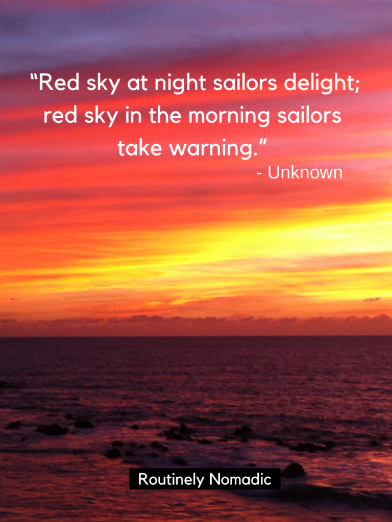 Picture of sunset and ocean with one of the red sunset quotes on top
