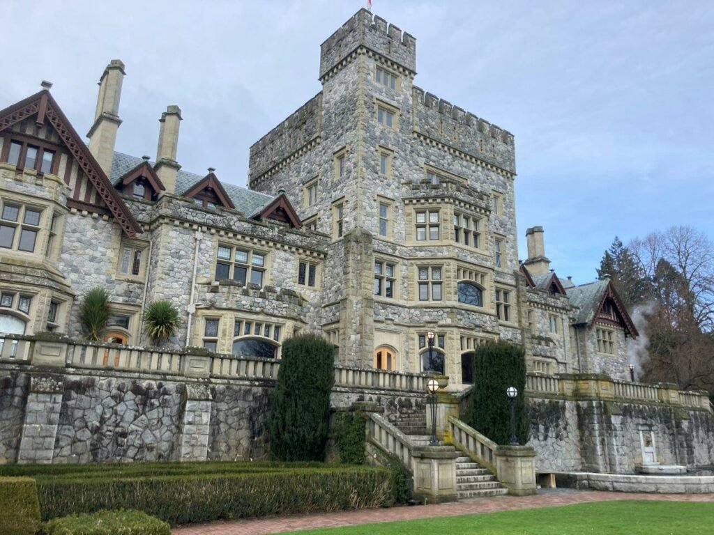 Front of Hatley Castle - best castle in Victoria BD
