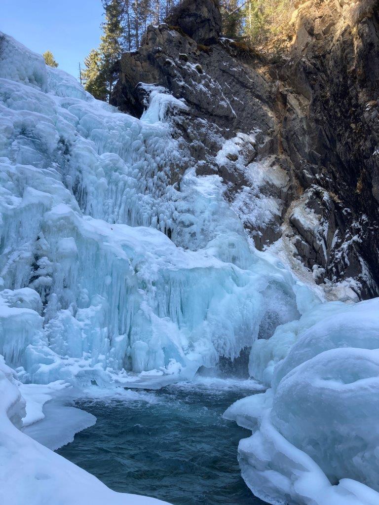 Frozen Lower Bugaboo Falls in winter