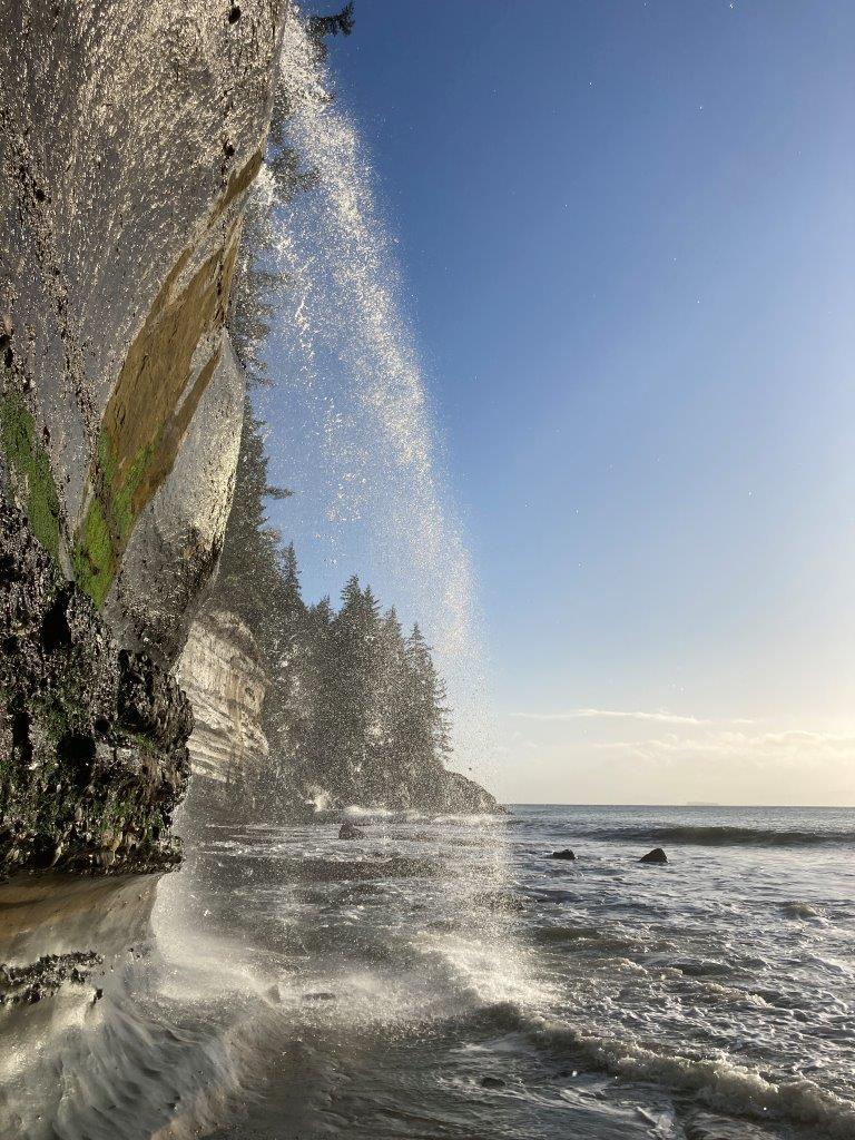 Mystic Beach BC waterfall