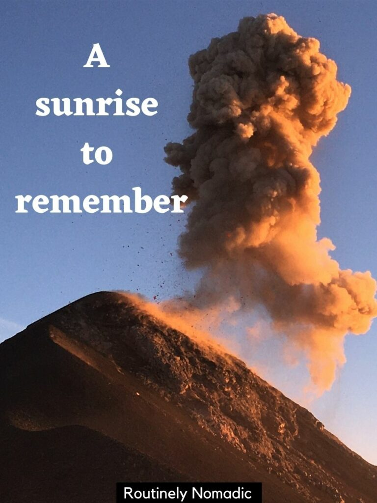 The sunrise on an erupting volcano and a short sunrise captions on top