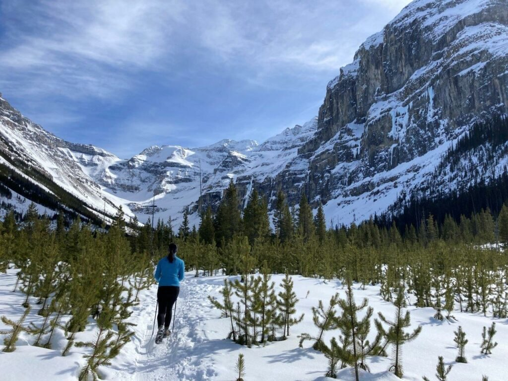 Woman hiking to Stanley Glacier in winter