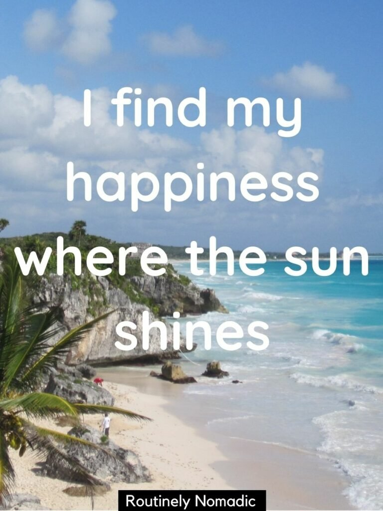 Palm tree, beach, ocean and cliffs and sunsine captions for instagram on top that says I find my happiness where the sun shines