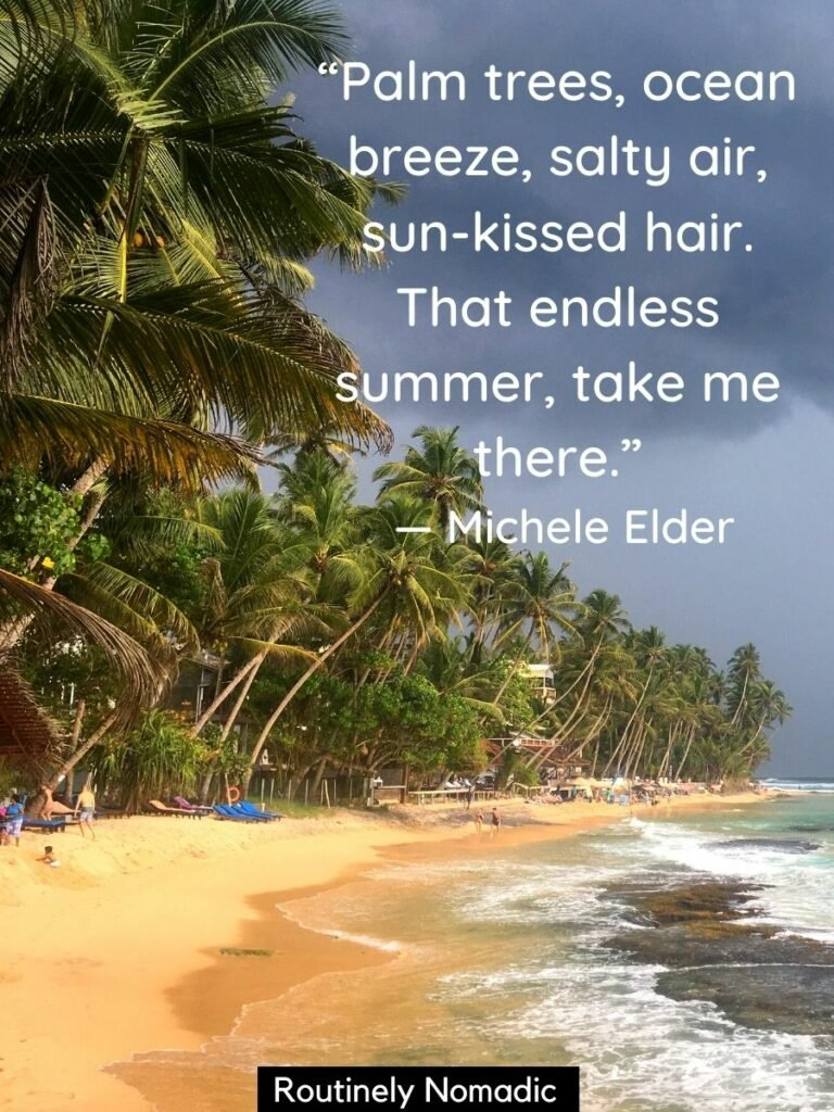 Beach with palm trees and ocean waves with sun kissed quotes on top
