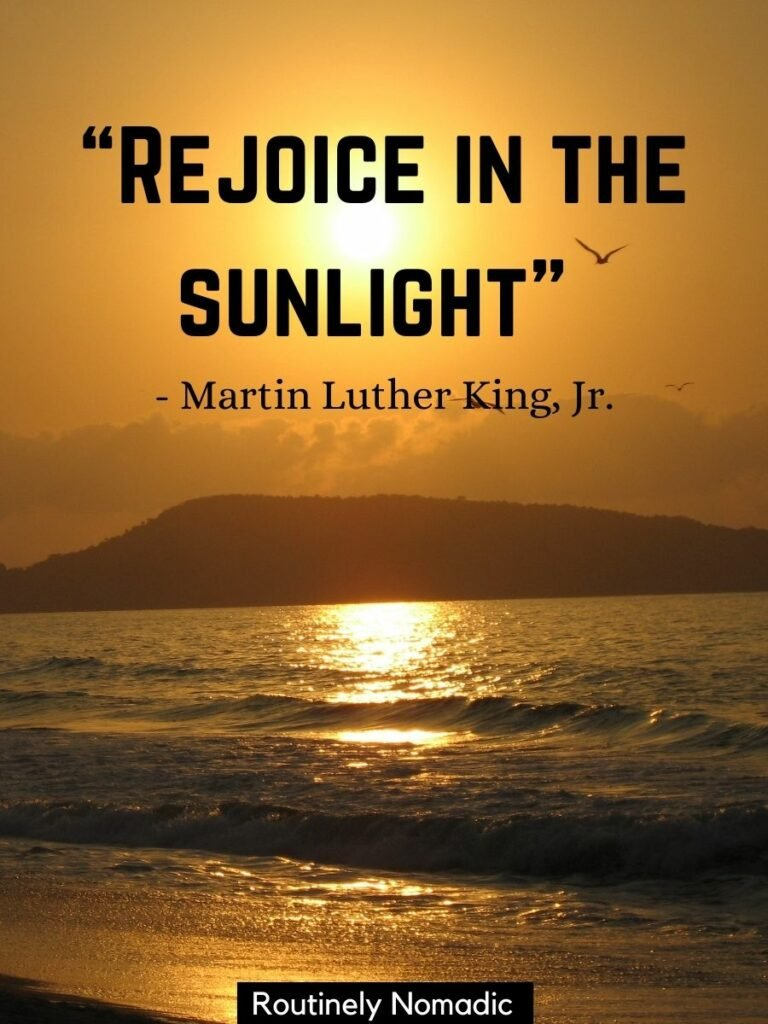 Sunlight on the ocean with a sunlight quotes for Instagram on top saying rejoice in the sunlight