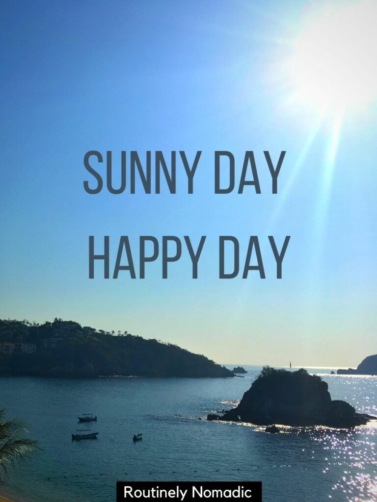 boats on the ocean with islands and the sun with a sunny captions for instagram on top that says sunny day happy day