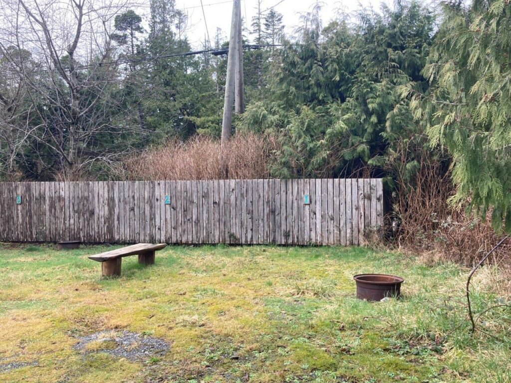 Empty site at a Tofino campground with bench and fire pit