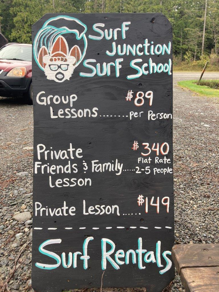 Sign of Tofino camping option Surf Junction with prices for surf school