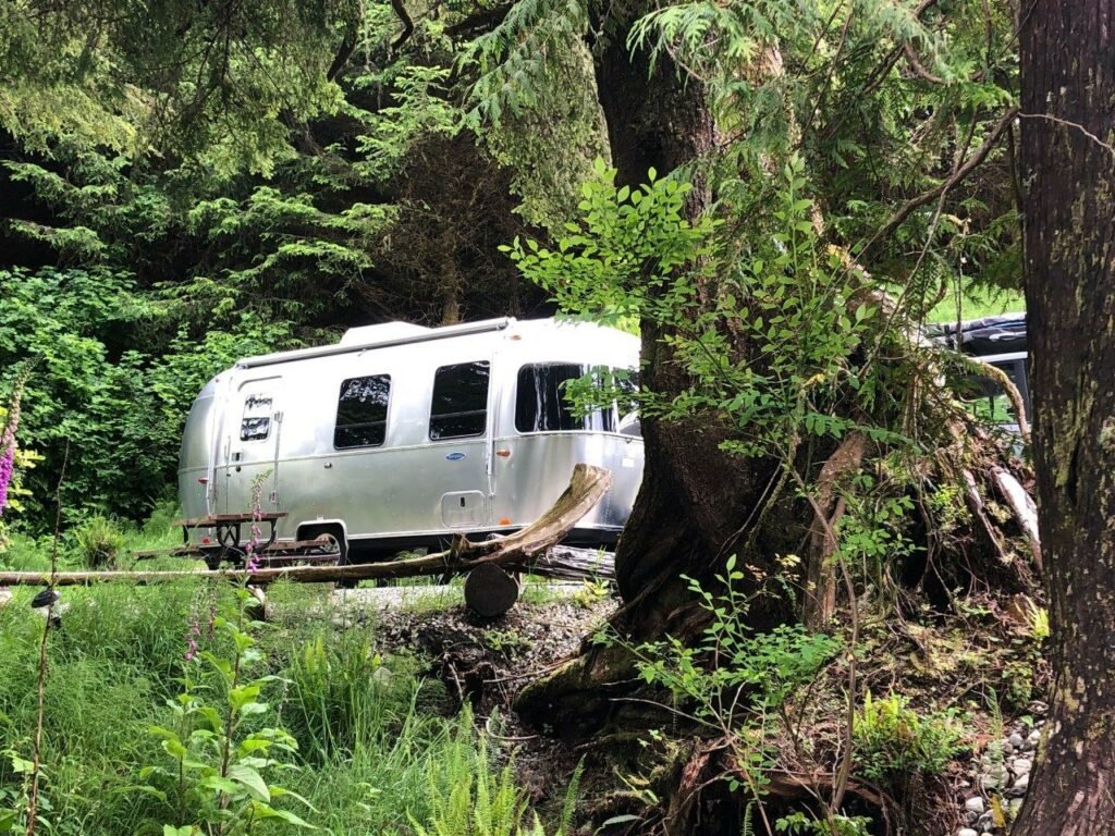 RV surrounded by trees at the best RV Ucluelet camping option
