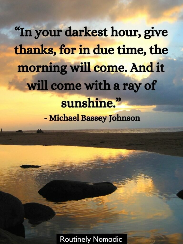 A yellow sunrise reflected on the way with a good morning sunshine quotes on top