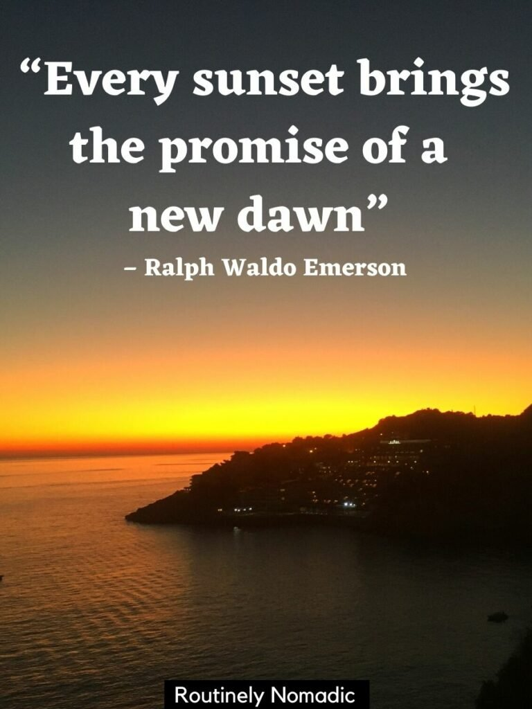 The sun setting on the ocean behind a islet with a sunset quotes short that reads every sunset brings the promise of a new dawn