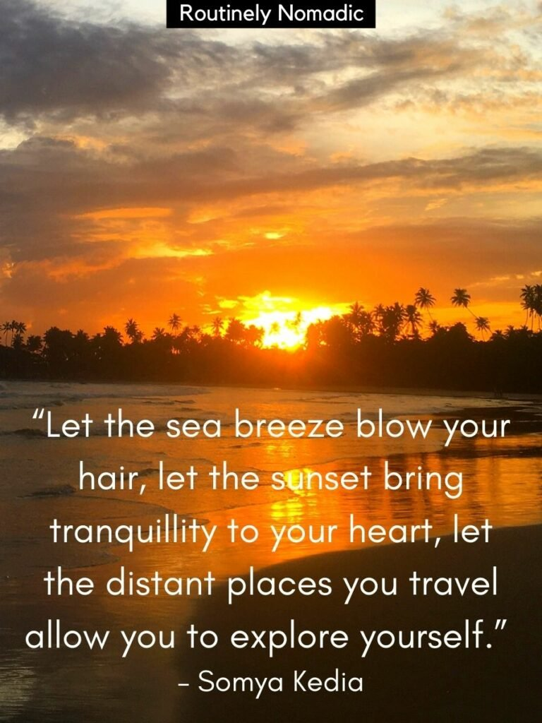 Gentle waves on a beach and the sun setting behind palm trees with a inspirational sunset quotes by Somya Kedia