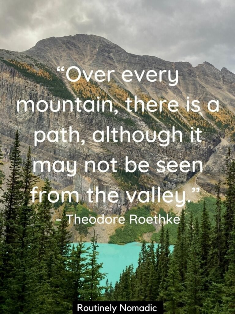 Trees framing a lake with a moutain behind and a inspirationa mountain quotes by Theodore Roethke on top