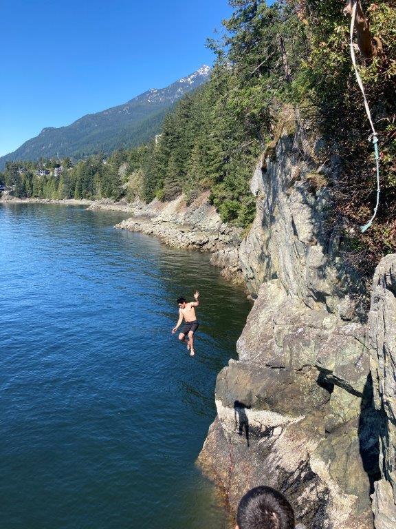 Cliff jumping at Lions Bay BC